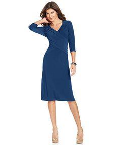 Elementz Petite Three-Quarter-Sleeve Tummy-Slimming Dress - Petite Dresses - Women - Macy's