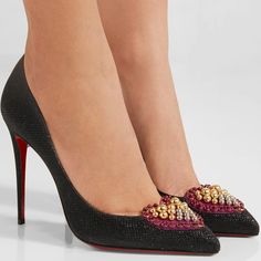 Christian Louboutin 'Coralta Mia' 100 Embellished Glittered Canvas Pumps