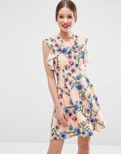 Image 1 ofASOS Ruffle Neck Skater Dress in Pretty Floral Print