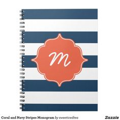 Coral and Navy Stripes Monogram Note Books