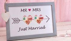 Just-Married-Bilderrahmen zur Hochzeit mit Armor-Pfeilen