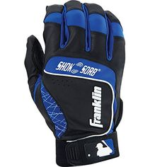 Franklin Sports MLB Adult Shok-Sorb Neo Batting Gloves, Black/Royal, X-Large