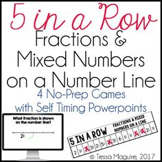 Practice building recognition of fractions and mixed numbers on a number line using this fun, fast paced Powerpoint game!