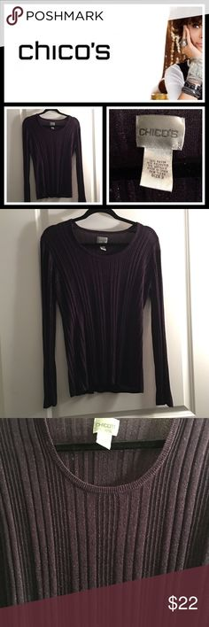 Chico's glitter purple sweater 💜 Worn one time, like new conditon with no signs of wear - is a Chico's size 3 which is a ladies XL. Purple glittery material which is so cute!! Chico's Sweaters