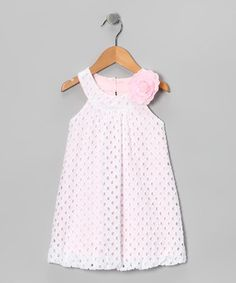 Take a look at this White & Pink Eyelet Dress - Toddler & Girls by Plum Pudding on #zulily today!