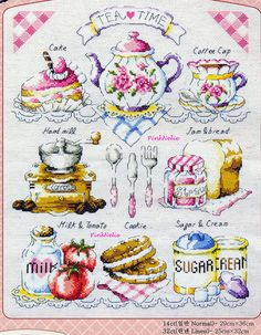 Tea Time  G16  Counted Cross Stitch Original Design by PinkNelie