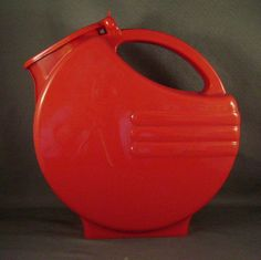 Vintage Red Plastic Water Pitcher Refrigerator by juliantiques