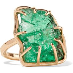 Melissa Joy Manning 14-karat gold emerald ring ❤ liked on Polyvore featuring jewelry, rings, 14k ring, emerald jewellery, 14 karat gold jewelry, 14 karat gold ring and 14k jewelry