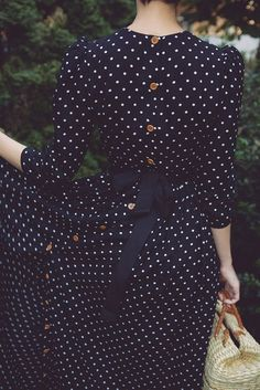 navy polka dot dress with buttons and bow Dot Dress, Dress Me Up, Dress Skirt, Dress Long, Navy Dress, Dress Sleeves, Swag Dress, Dress Shoes, Pretty Outfits