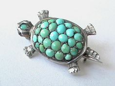 Victorian Silver 800 Turquoise Turtle Brooch