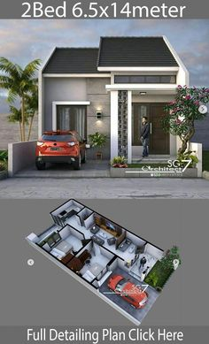 2 Bedrooms Home design Plan - Home Ideas - House Architecture House Layout Plans, Small House Plans, House Layouts, House Floor Plans, Simple House Design, House Front Design, Modern House Design, Minimalis House Design, Small Modern Home