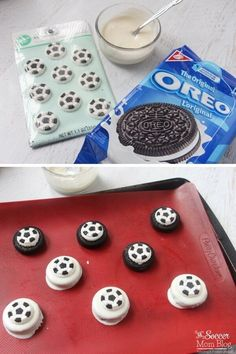 Perfect for a soccer-themed kids birthday party or post practice treat! Chocolate covered soccer Oreos are an easy dessert recipe