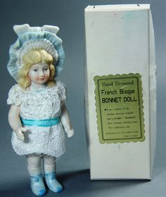 Vintage Fully Jointed Bisque Bonnet Doll