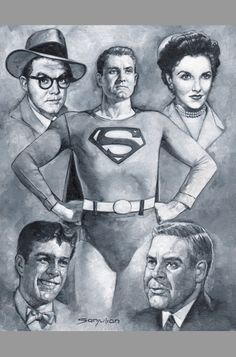 George Reeves, playing the dual role of Clark Kent/Superman, became a pop… First Superman, Superman Comic Books, Superman Movies, Superman Family, Batman And Superman, Comic Books Art, Comic Art, Superman Stuff, Book Art