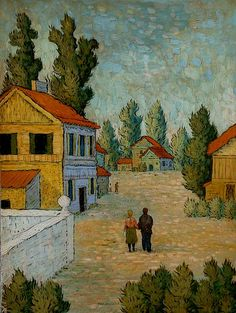 Mark Drake-Briscoe, VILLAGE WALK,  Oil and Tempera on Panel  18 x 24 Inches 46 X 61 cms (approx)