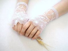 bridal lace mitts...my mother wore lace mitts at her wedding, you rarely see that anymore