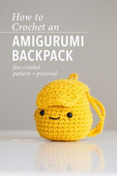 Free crochet pattern for an amigurumi backpack, inspired by the Polar Express. This is part of the Amigurumi Advent Calendar Crochet-along at Crochet Simple, Crochet Diy, Easy Crochet Projects, Crochet Motifs, Easy Crochet Patterns, Crochet Patterns Amigurumi, Crochet Gifts, Crochet Dolls, Crochet Stitches