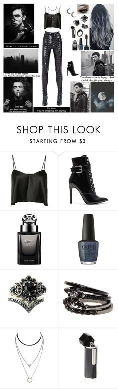 """""""✘ I need you to tell me everything will be alright. To chase away the voices in the night. When they call my name. Have I gone insane? ✘"""" by blueknight ❤ liked on Polyvore featuring Brandon Maxwell, Danielle Guizio, Gucci, OPI, Kat Von D and Karl Lagerfeld"""