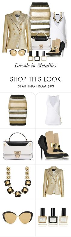 """Perfect For Holiday Cheer"" by shamrockclover ❤ liked on Polyvore featuring Balmain, Orla Kiely and Linda Farrow"