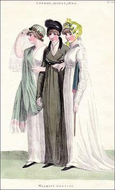 Walking dresses, 1800