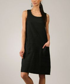 Another great find on #zulily! Black Linen Scoop Neck Sleeveless Dress by Eva Tralala #zulilyfinds