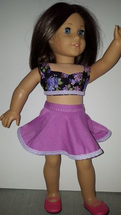Skater Skirt and Crop Top for American Girl Doll or any 18 Inch Doll