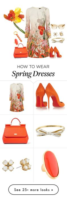 """Spring days are ahead"" by veronababy on Polyvore featuring Universal Lighting and Decor, Christian Louboutin, Dolce&Gabbana, Kate Spade, RetroSuperFuture, Kenneth Jay Lane, Trina Turk, women's clothing, women and female"