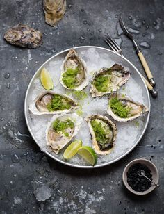 Oysters with spicy cucumber & lime granita #recipe #lowcarb #healthy