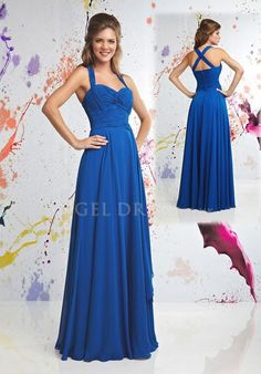 Sleeveless Halter A line With Ruching Floor Length Chiffon Prom Dresses