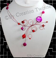 bijoux de mariage , collier  dame d honneur, cadeau de demoiselle d honneur, collier rouge et fuchsia, bijoux délicat