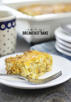 Impossibly Easy Breakfast Bake that can feed a crowd!  Make ahead of time over the holidays and enjoy a relaxing breakfast.  Recipe at livelaughrowe.com