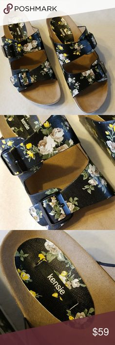 "Kensie Floral  Buckled Slip On Wedge Sandals Wenda NEW NEVER WORN   Beautiful Floral Pattern  Black Straps  Black Buckles  Cork Base Non Slip Sole  Heel Height 2 1/2"" With 1"" Toe Platform By Kensie Wenda Model Compare to Birkenstocks   Be Sure To Check Out The Rest of My Listings For Additional Mens Women's Kids Shoes & Sandals  ✔BUNDLE UP FOR SAVINGS ✔ Kensie Shoes"