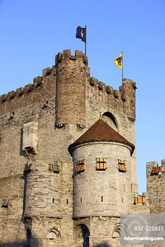 Keep of Gravensteen Castle, Ghent, East Flanders, Belgium, Europe