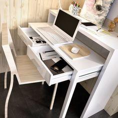 Home Office Furniture, Furniture Decor, Home Office Closet, Home Office White Desk, Attic Office, Portable Workstation, Desk Nook, Small Console Tables, White Desks
