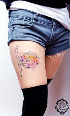 Lotus watercolor tattoo