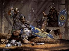 Roman auxiliaries, are ambushed in a forest during the second Dacian War, 105 A.D. ~ art by Angus McBride