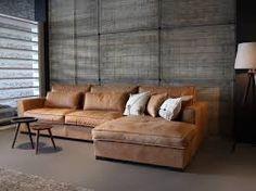 Afbeeldingsresultaat voor hoekbank hout leer beton staal