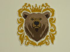 Animal Iron-on Patch. Sew-On Patch. Bear in Crown Patch Sew On Patches, Iron On Patches, Design Baroque, Embroidered Quilts, Couture, Embroidery Thread, Quilt Blocks, Lion Sculpture, Teddy Bear