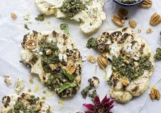 Grilled Cauliflower Steaks with Think veggies are a boring side dish? Think twice with these grilled cauliflower steaks with pecan pesto, perfect for backyard barbecues this summer!  #millicanpecanrecipe #millicanpecan #pecans #pecanrecipe #pecannutrition #healthyeatimg #plantbasedrecipes #recipe Grilled Califlower, Cauliflower Steaks, Low Carb Dinner Recipes, Healthy Eating Recipes, Healthy Foods, Healthy Life, Pecan Recipes, Keto Recipes, Pecan Crusted Tilapia