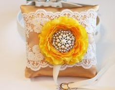 Gold and Yellow Wedding Ring Pillow, Dog ring bearer pillow, Gold Wedding idea, Ring Pillow attach to dog Collar, Pet wedding accessory - LA Dog Store  - 1