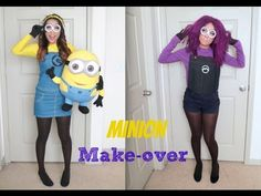 Yellow and Purple Minion Halloween Make-up Tutorial