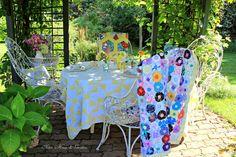 Aiken House & Gardens ~ Garden Tea ~ vintage quilts