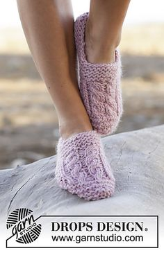Inspiration for crochet slippers with cables on top.