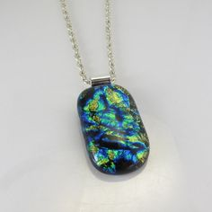 Green Blue Dichroic Glass Jewelry Fused Glass by IMadeJewelry #fusedglass #pendant #glassjewelry