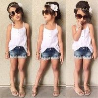 Wish | White Strap Top+Denim shorts 2 Piece Set Summer Girls Clothing Set Casual Kids Infants & Toddlers