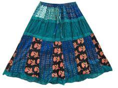 Patchwork Skirt Dark Green Blue Printed Crinkled Cotton Gypsy Boho Skirts Mogul Interior,http://www.amazon.com/dp/B00ISRBFLU/ref=cm_sw_r_pi_dp_ZxWftb11MAE9GAHX
