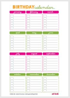 Remembering birthdays always been a weakness? Not for long! Print this FREE printable from Ziilch.com.au and you won't be facing the embarrassment of forgetting anymore.