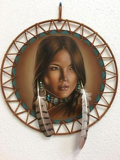 Original work of art painted on leather spirit shield, portraying young Native American girl with turquoise and real feathers. A young Lakota? Native American Actors, Native American Legends, Native American Paintings, Native American Pictures, Native American Quotes, Native American Beauty, Native American History, American Symbols, American Indians