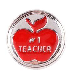 "Chunk Snap Charm Red Enamel Apple #1 Teacher 20mm, 3/4"" Diameter"