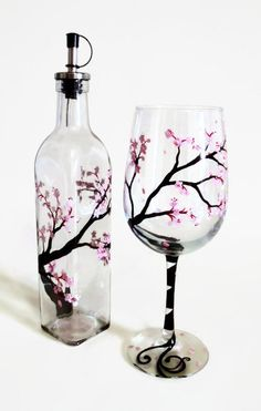 ♡♡♡ For some reason this calls out to me abd reminds me of you and plus it is my favorite tree ♡♡♡ Cherry Blossoms Hand Painted Wine Glass Pink by LKCustomCreations Painted Wine Bottles, Painted Wine Glasses, Glass Bottles, Wine Glass Crafts, Wine Bottle Crafts, Cherry Blossom Decor, Cherry Blossoms, Bottle Painting, Bottle Art